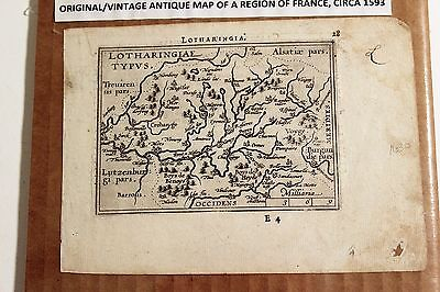 Antique Original Abraham Ortelius Map LOTHARINGIAE (Region in France) circa 1593
