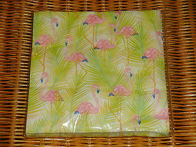 Summer Luau Pool Party Luncheon Paper Napkins ~ Pink Flamingos with Palm Fronds