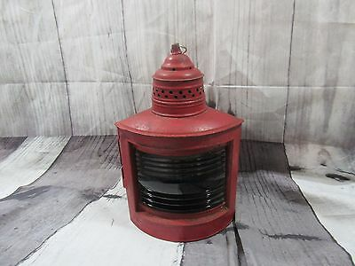 Antique Maritime Ships Warning Lantern Light Lamp Blue Glass Globe