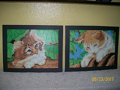 Vintage CRAFT HOUSE Paint By Number Paintings KITTENS  Set of 2  11x14