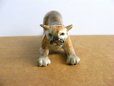 Northern Rose Retired Mountain Lion Crouching Miniature Animal Figurine Cougar