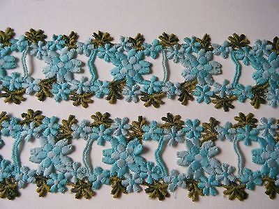 Antique Original embroidered flowers lace for insert ribbons Millinery use
