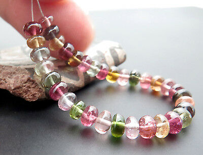 """33 EXQUISITE MULTI COLORAAAA BLUE PINK GREEN + TOURMALINE BEADS 4.35"""" 20cts"""