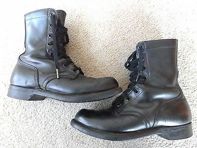 Vintage (63) Cap Toe Light Tread Military Blk Leather Boots Men 8R (Nice)