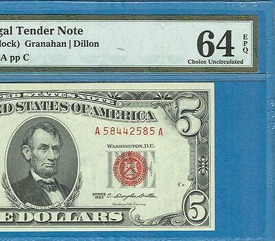$5.00 1963   Legal Tender  Red Seal United States Note Pmg 64Epq
