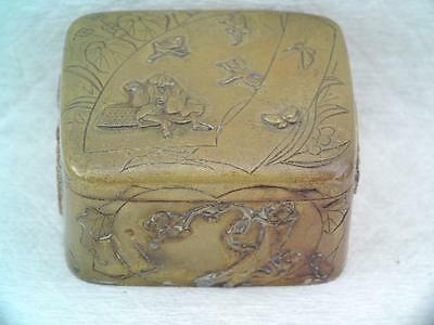 Antique Victorian Japanese Figural Opium/snuff Box Mixed Metal