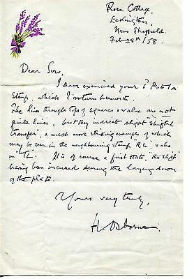 1958. Handwritten Letter Personally Signed By Harry Osborne, Eminent Philatelist