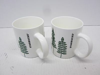 2015 Starbucks Coffee Mugs Christmas Tree Design Set of 2