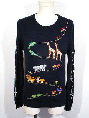 Vintage NOAHS ARK SWEATER Embroidered 70's Novelty Animals Giraffe Lion Cyn Les