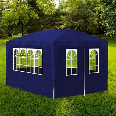 S# Gazebo 3x4m Blue Party Tent Marquee Folding Up Canopy Outdoor Wedding Event