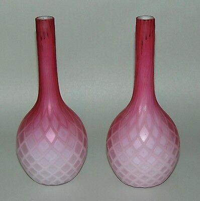 ANTIQUE VICTORIAN Art Glass MOTHER OF PEARL Pair Of Bottle Vases DIAMOND