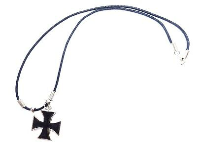 New MALTESE CROSS IRON CROSS  BLACK INLAY PEWTER PENDANT CORD NECKLACE