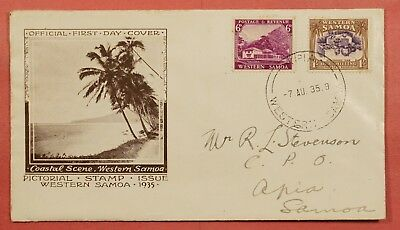 1935 Western Samoa Pictorial Fdc Cachet Cover 2