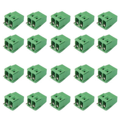20pcs 2-Pin 2P Plug-in Terminal Block Screw PCB Connector Pitch 5.0mm Green