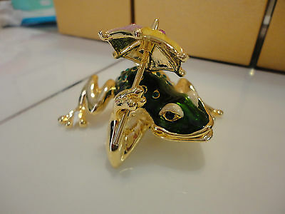NEW LARGE ART enameled bejeweled rhinestone austrian crystal Frog trinket box