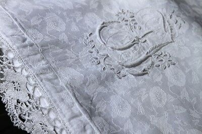 Bettbezug riesen Prunkmonogramm Handarbeit um1900,Antique Duvet