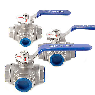 "1/2"" 3/4"" 1"" BSP Female 3-Way L-Port Stainless Steel Ball Valve Water Oil"
