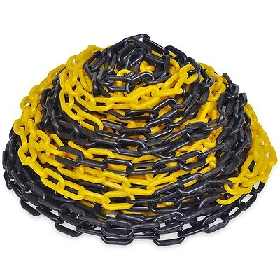 S#Yellow and Black Plastic Safety Chain 6mm x 30 meter Roll Warning Security Cha