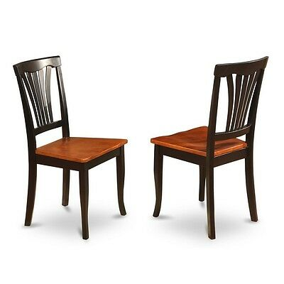 Chair For Dining Room Wood Seat-Black And Cherry Finish, Set Of 2 NEW