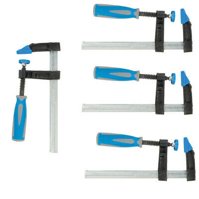 4 Pack - Heavy Duty 150Mm X 50Mm F Clamps - Soft Grip Quick Slide Non Marking