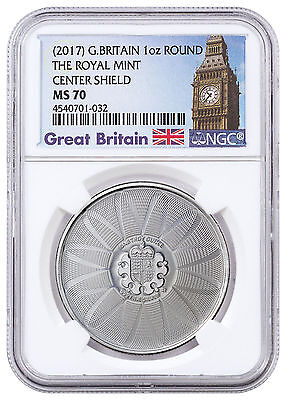 (2017) Britain Royal Mint Center Shield 1 oz. Silver Round NGC MS70 SKU46575