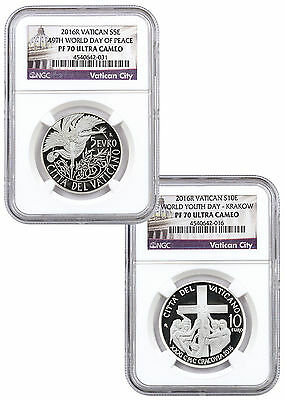 Set of 2 2016 Vatican Silver Proofs NGC PF70 UC Exclusive Vatican Label SKU46605