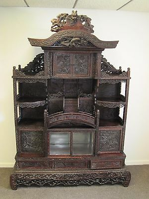 Antique Late 1800's Japanese Hand Carved Armoire Furniture Large Japan