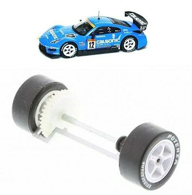 Scalextric W9318 Nissan 350Z Rear Wheels Gear Tyres & Axle Bearings New Calsonic