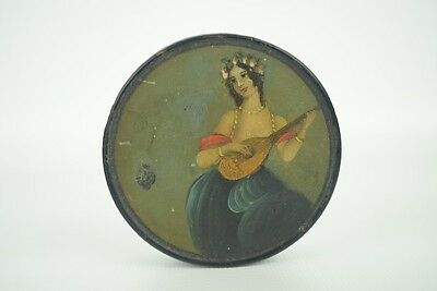 """Beautiful Antique Hand-Painted Woman Compressed Wood Round Snuff Box  2-3/4"""" D"""