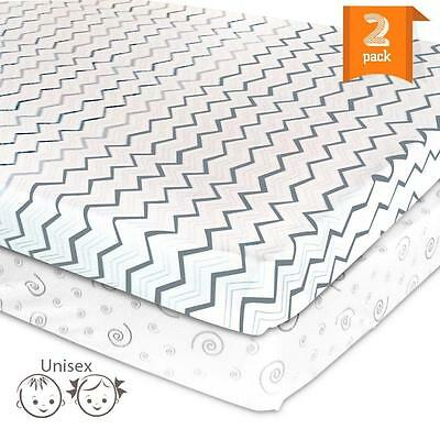 Pack N Play Playard Sheet Set – 2 Jersey Cotton Fitted Sheets for Mini...
