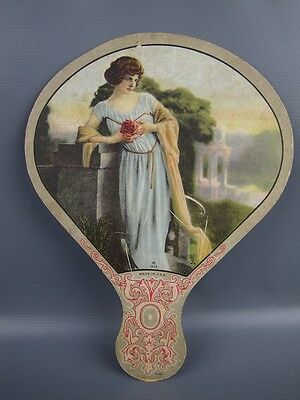 Antique 1923 Lithographed Woman Paper Hand Fan Klier Novelty U.S.A.