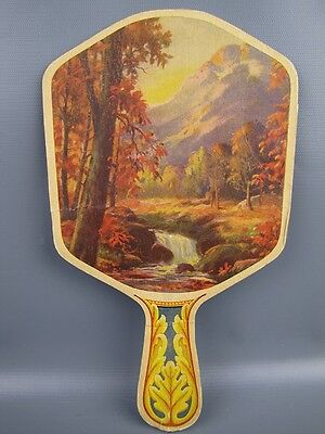 Antique 1930s Lithographed Advertising Paper Hand Fan Funeral Service PA
