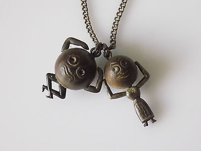 Antique WWI Silver Mr and Mrs Touch Wud/Wood lucky charm necklace