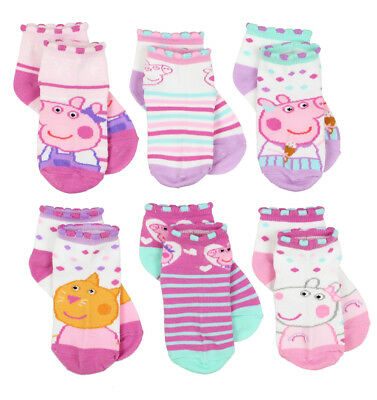 Peppa Pig Toddler Girls 6 pack Socks Set PP004TQS