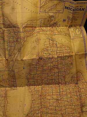 """Antique 1920 Color 20x28"""" Clason's Guide Map Michigan Counties Steamship Lines +"""