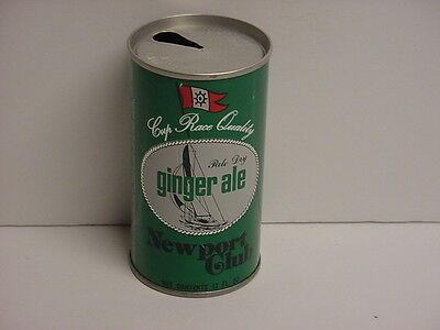 Vintage Newport Club Ginger Ale Steel Pull Tab Top Opened Soda Can Sailboat