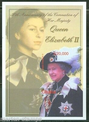 GHANA  IMPERF 50th CORONATION OF QUEEN ELIZABETH II  S/ SHEET SC#2382   MINT NH