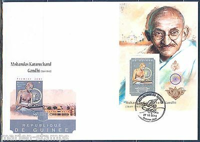 Guinea 2014 Mahatma Gandhi Souvenir  Sheet First Day Cover