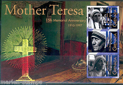 Grenada Mother Teresa 15Th Memorial Anniversary Sheetlet Of 3 Stamps