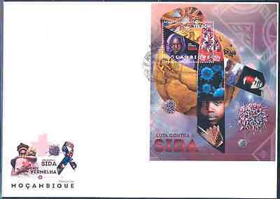 Mozambique 2012 Red Cross Fight Against Aids Souvenir Sheet Fdc