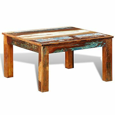 Reclaimed Solid Wood Recycled Coffee Table Vintage Timber Side Furniture 80x80cm