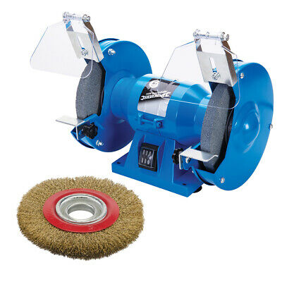 "150mm ELECTRIC BENCH GRINDER 230V 150W + 6"" POLISHING GRINDING WIRE WHEEL BRUSH"