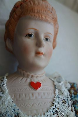 """1960's Bisque Doll by Shackman- 20""""- Calico Dress- VG- VERY VICTORIAN LOOK- SALE"""