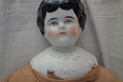 """Victorian China Head Doll- Marked """"DOROTHY"""" -20""""-Black Butterfly Hair Style-SALE"""