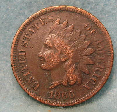 1866 Indian Head Penny FINE- * Circulated US Coin #822