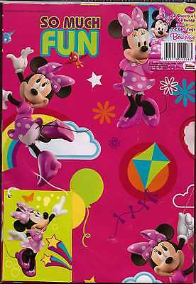 Disney Minnie Mouse 2 sheets gift wrap & 2 gift tags new & sealed Wrapping Paper