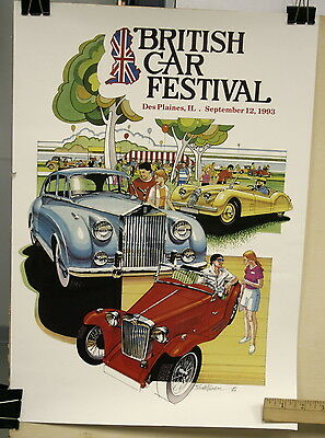 1993 British Car Festival Collectible Poster 14 x 20