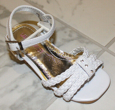 Laura Ashley White Patent Baby Girls Sz 5 Sandals Shoes Nwob