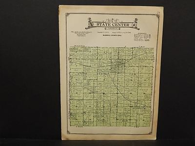 Iowa  Marshall County Map State Center Township  c1920   W8#41