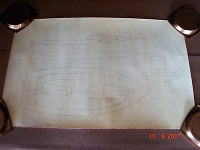 Two Original Vintage Marblehead, Unsigned Boat Whiteprint Blueprints